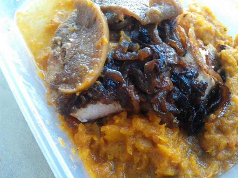 ... – Apple Onion Cinnamon Pork Chops over Crockpot Butternut Squash