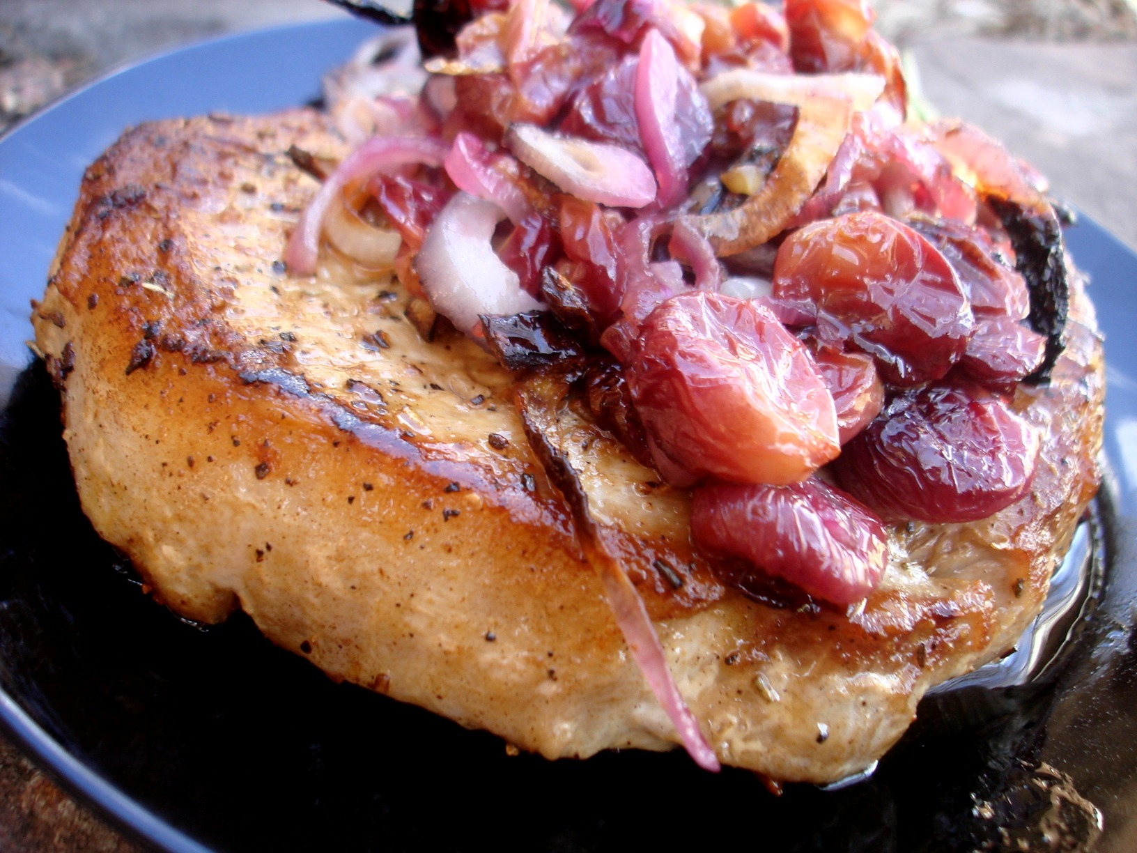 Coconut Oil Grapes Pork Chop Red Onion Rosemary Slideshow