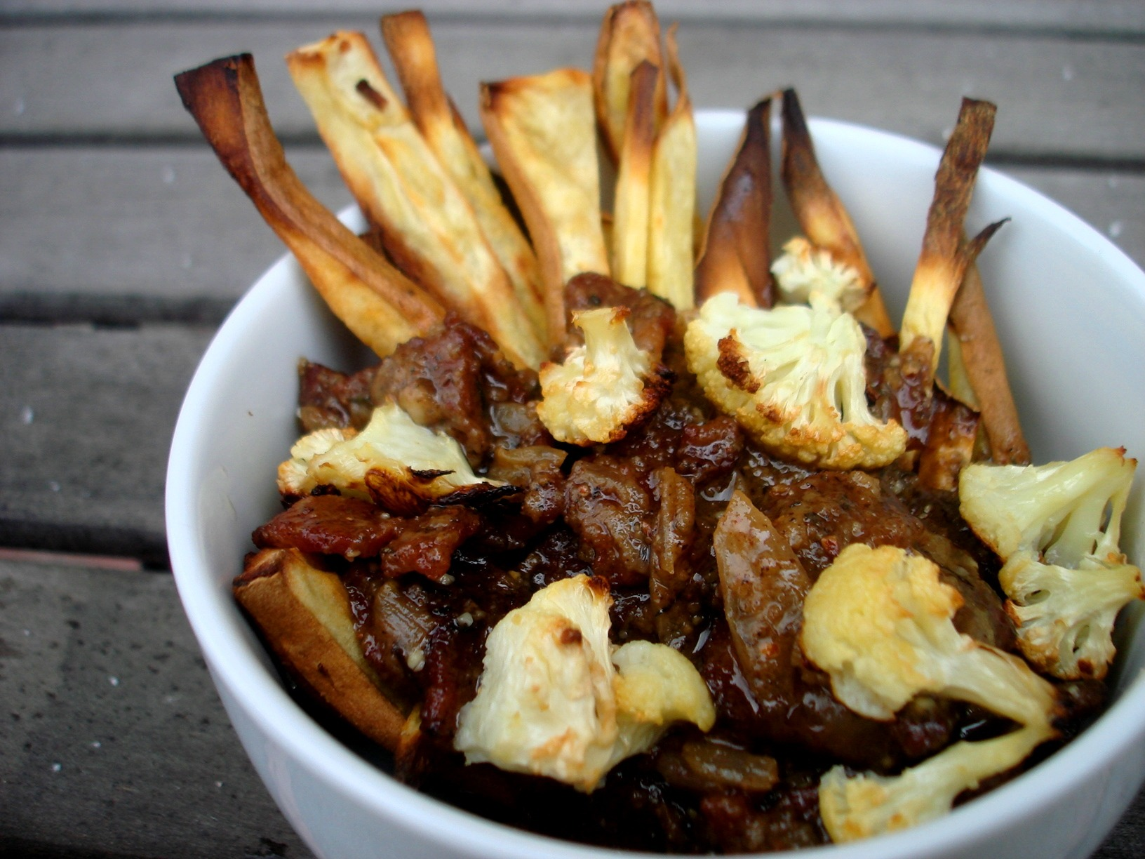 PaleOMG – Paleo Recipes – Bacon Sweet Potato Poutine