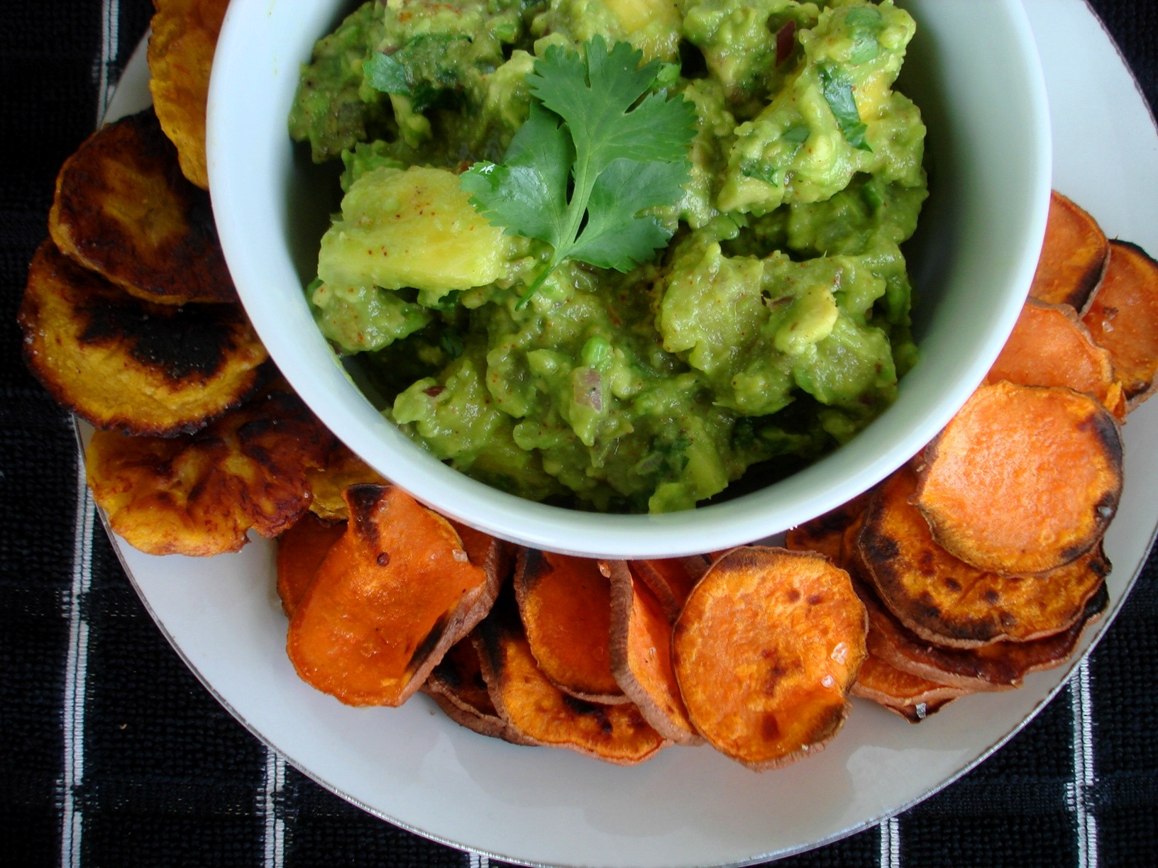 Chunky Pineapple Guacamole with Grilled Sweet Potato Chips