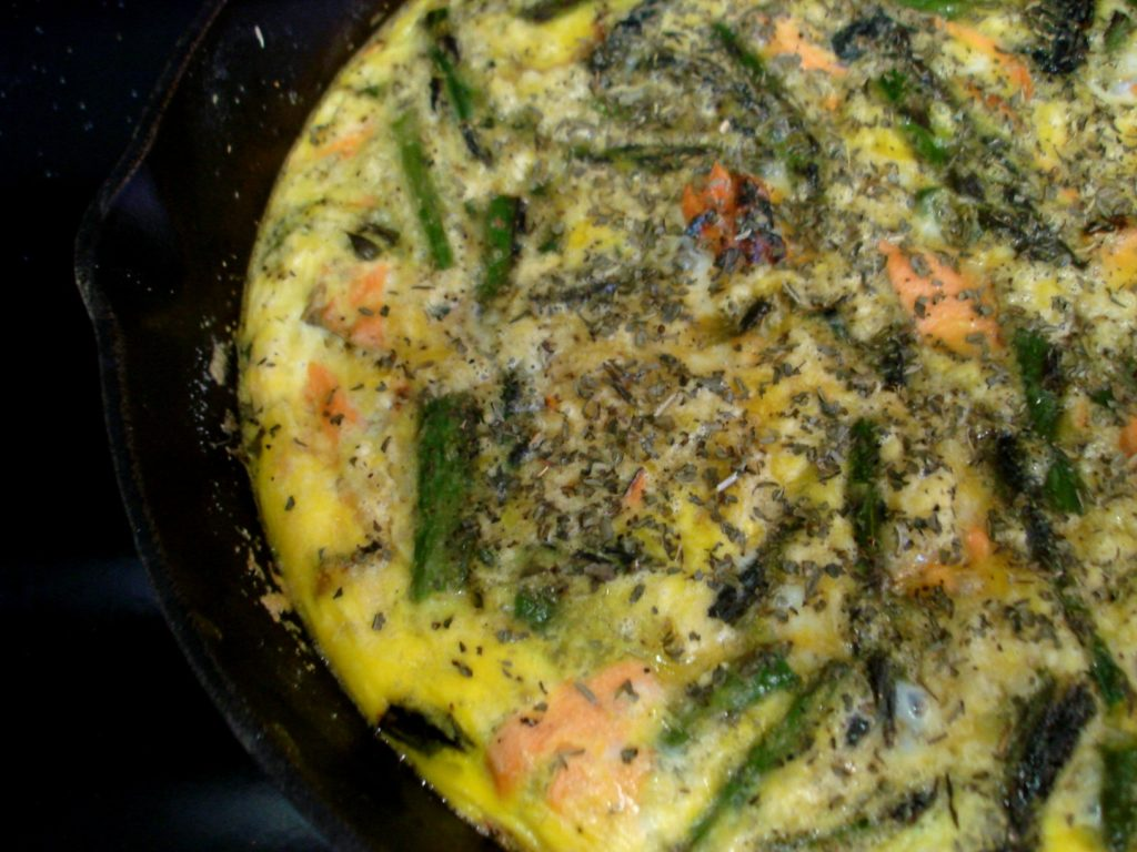 PaleOMG Grilled Salmon & Asparagus Frittata