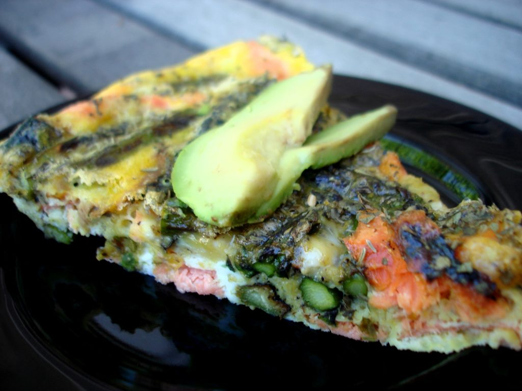 Grilled Salmon and Asparagus Frittata