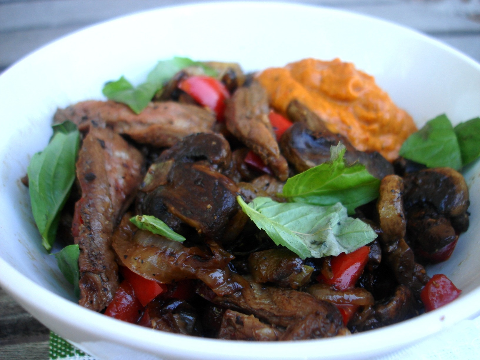 Steak Hash with Red Pepper Avocado Spread |