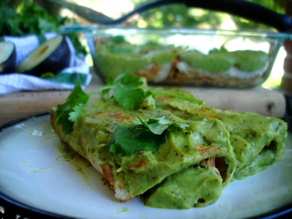 Pork Avocado Cream Enchiladas |