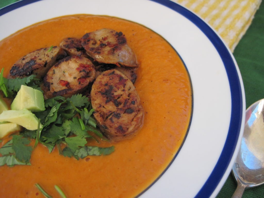 PaleOMG Roasted Red Pepper and Avocado Soup with Sausages