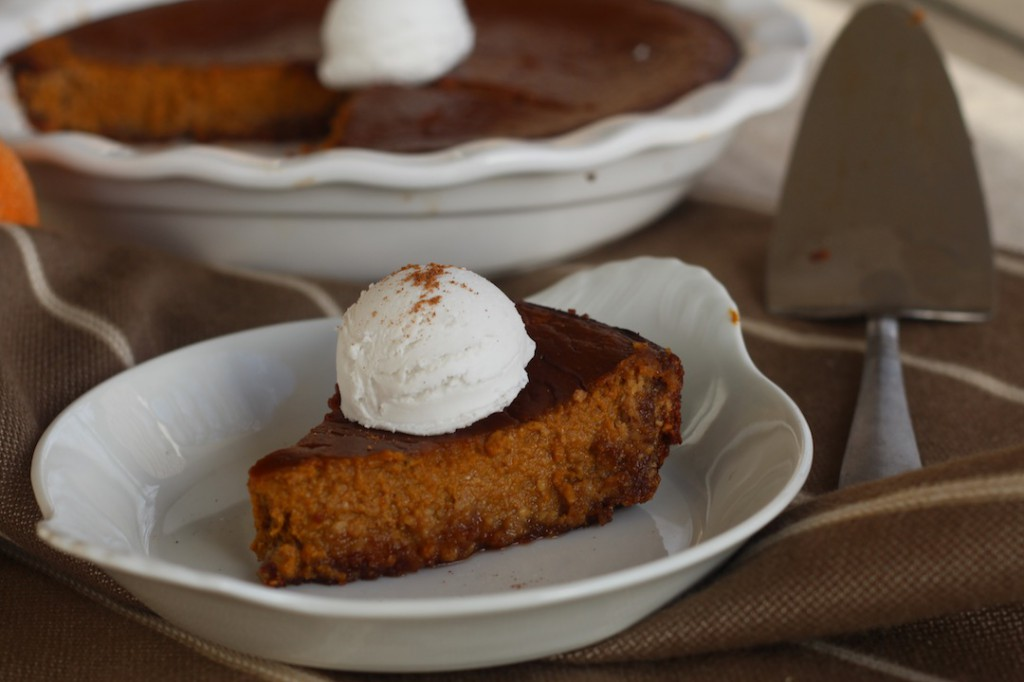 PaleOMG Eggnog Pumpkin Pie with Gingerbread Crust