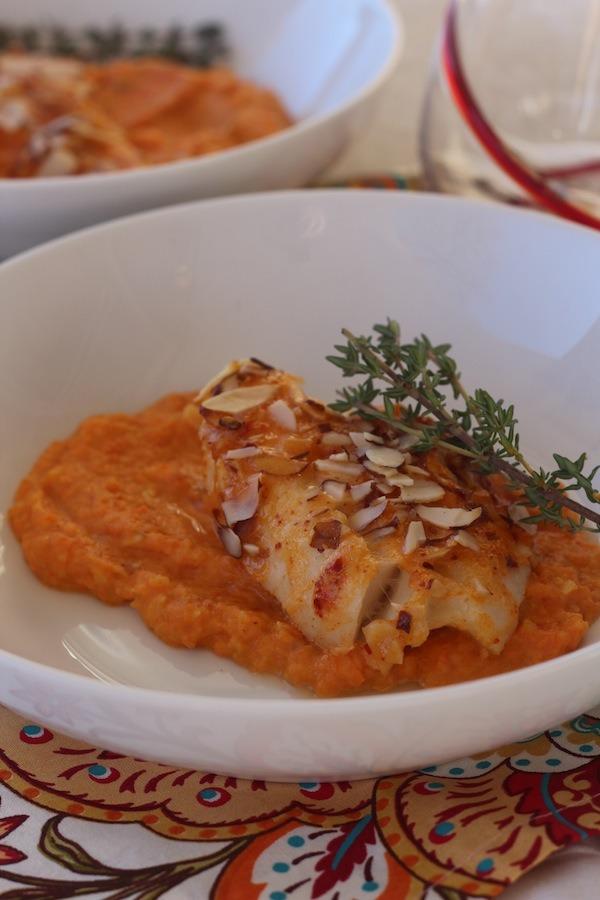 PaleOMG Flaky Sriracha Cod over Parsnip Carrot Mash
