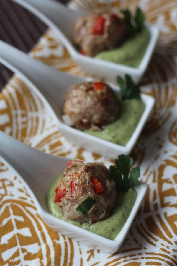 PaleOMG Southwest Meatballs with Creamy Cilantro Dipping Sauce