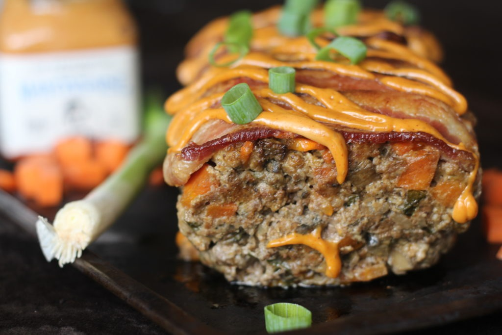 PaleOMG Bacon Chorizo Chipotle Smothered Meatloaf