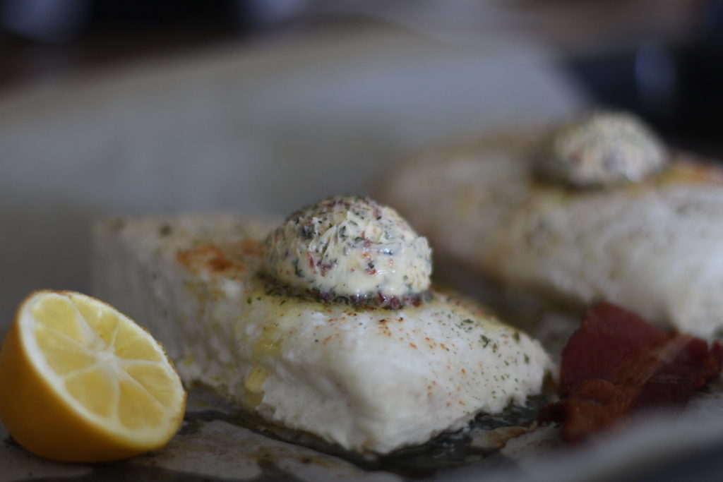 PaleOMG Simple Baked Halibut with Bacon Herb Butter