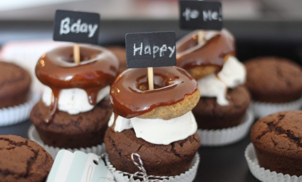 PaleOMG Caramel Donut & Ice Cream Topped Chocolate Birthday Cupcakes