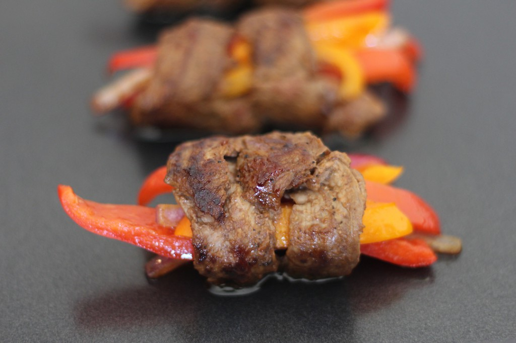 PaleOMG Marinated Steak & Bell Pepper Roll Ups