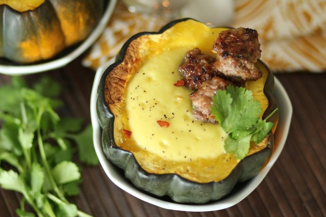 Ginger Acorn Squash Soup With Thai Mini Meatballs Paleomg Paleo