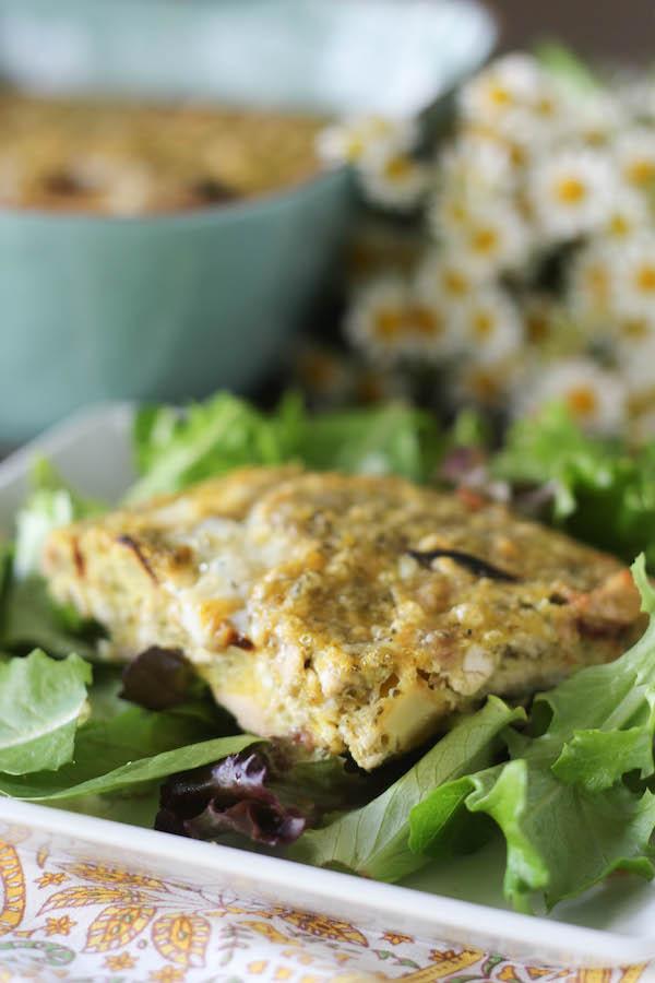 PaleOMG Pesto Chicken and Sweet Potato Breakfast Bake