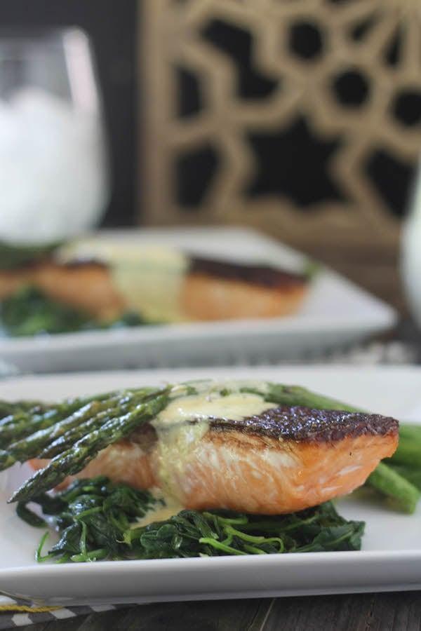 PaleOMG Crispy Skin Salmon with Bernaise Sauce