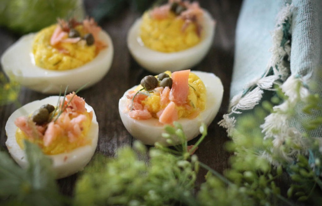 PaleOMG Smoked Salmon Dill Deviled Eggs