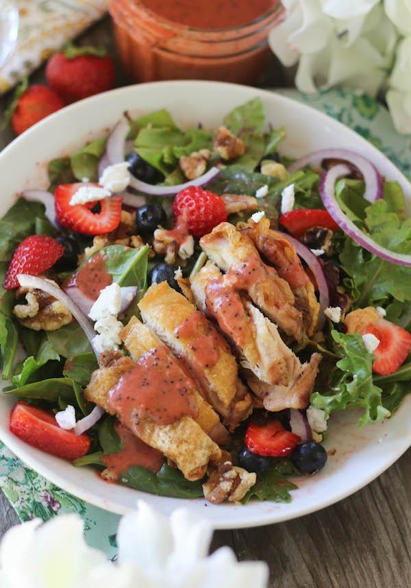 PaleOMG Crispy Chicken Berry Salad with Strawberry Poppyseed Dressing
