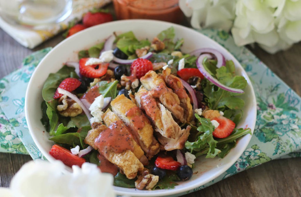 PaleOMG Crispy Chicken Berry Salad with Strawberry Poppyseed Dressing