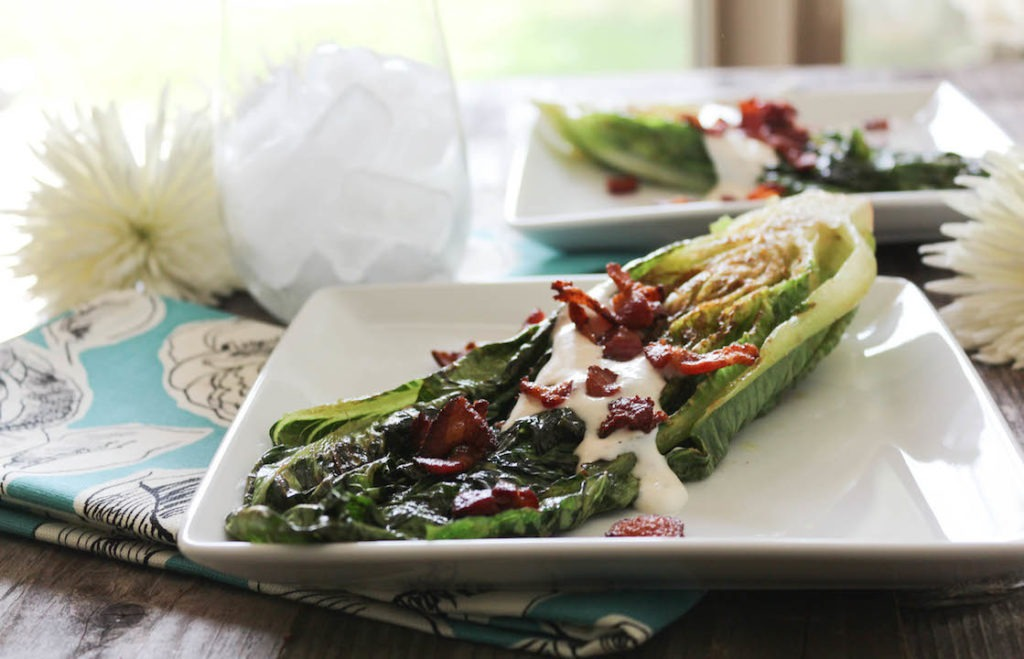 PaleOMG Grilled Romaine Hearts with Bacon Celery Salt Ranch