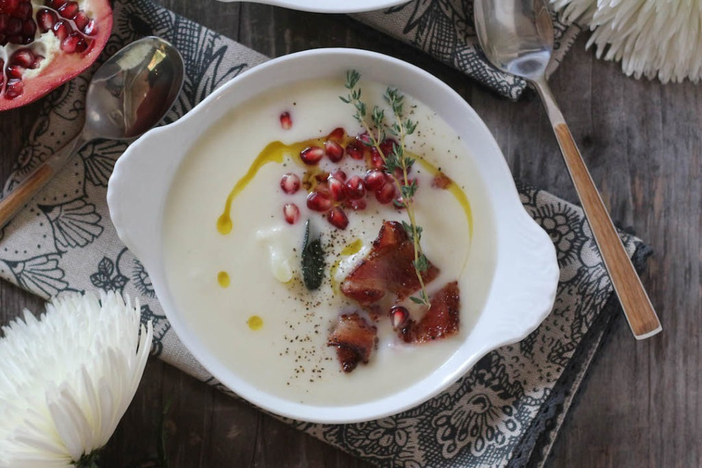 PaleOMG Truffle Cauliflower Soup with Bacon Brown Butter Crispy Sage