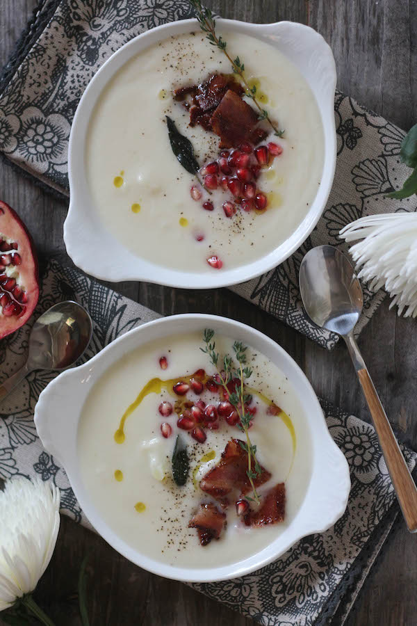 PaleOMG Truffle Cauliflower Soup with Bacon, Brown Butter Crispy Sage & Pomegranates
