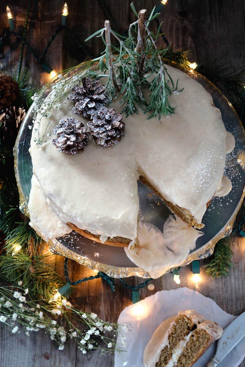 Eggnog Glazed Gingerbread Cake