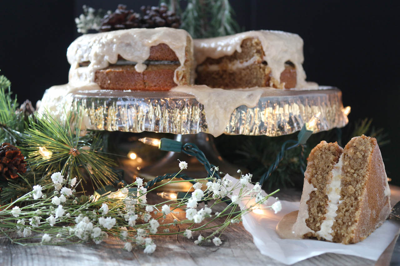 Eggnog Glazed Gingerbread Cake