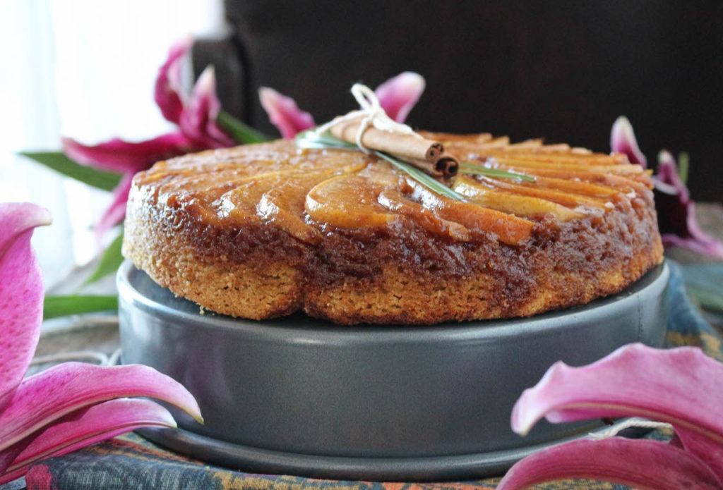 Caramel Cardamon Pear Upside Down Cake