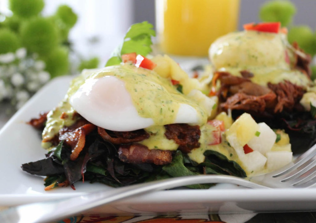 PaleOMG Barbacoa Eggs Benedict with Chimichurri Hollandaise