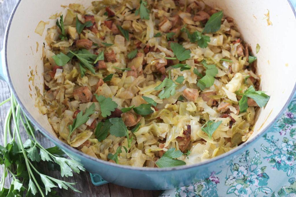 PaleOMG Bacon & Sausage Braised Cabbage