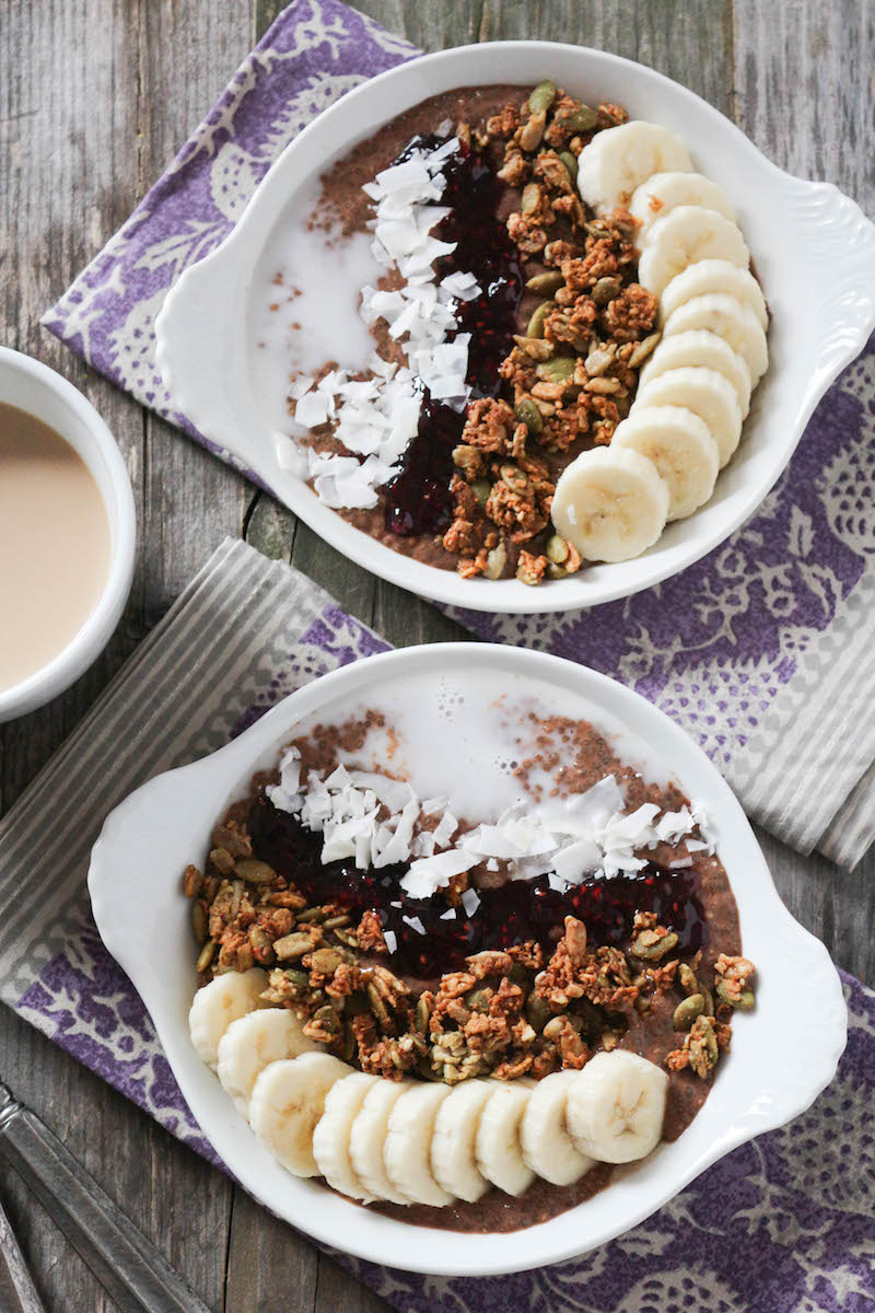 PaleOMG Chocolate Coffee Protein Chia Breakfast Bowls