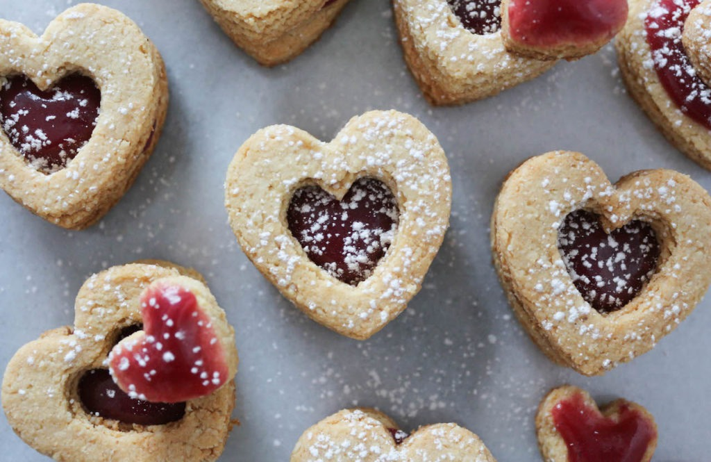 PaleOMG Raspberry Caramel Shortbread Heart Cookies