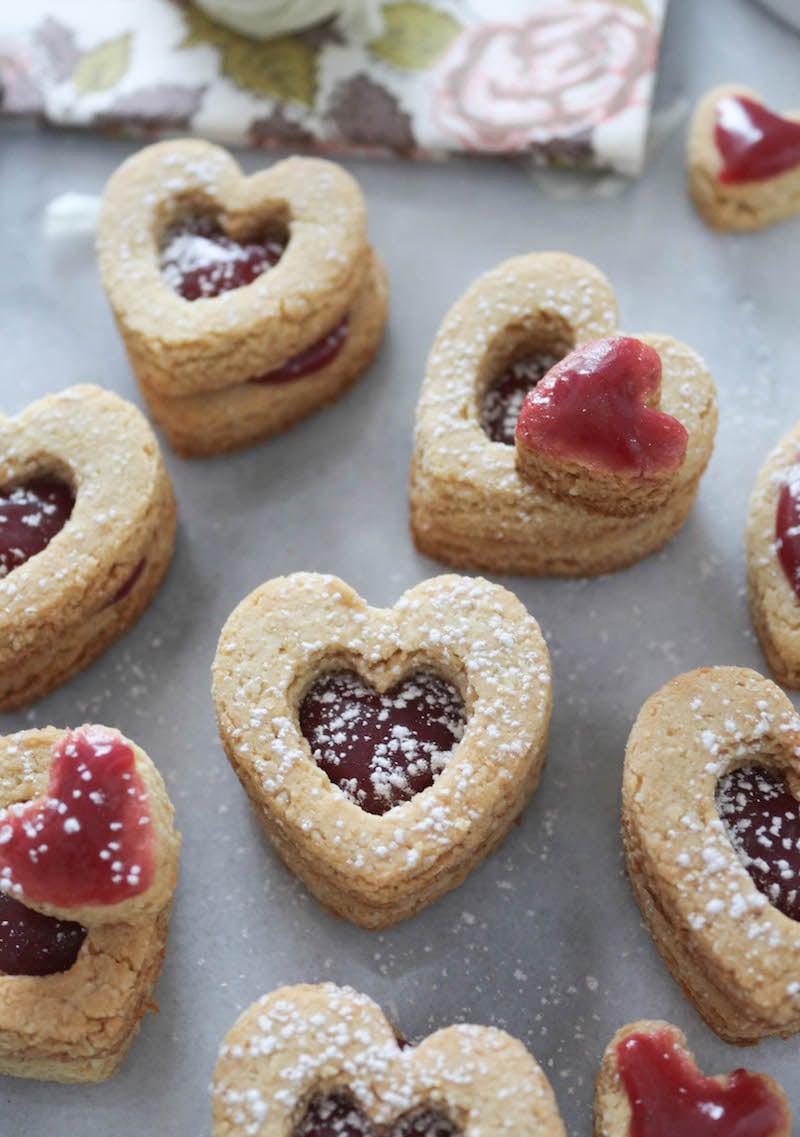 PaleOMG Valentine's Day Raspberry Caramel Shortbread Sandwich Cookies