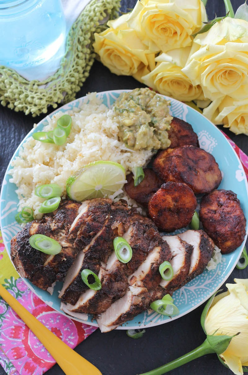 PaleOMG Baked Jerk Chicken with Coconut Rice & Cinnamon Sweet Plantains
