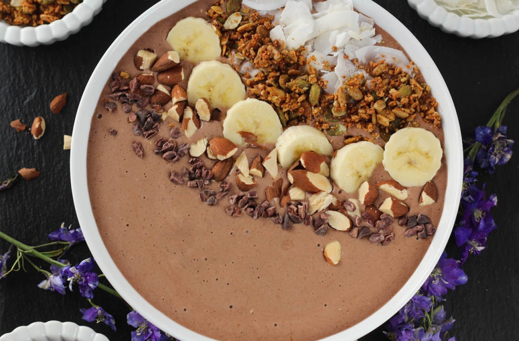PaleOMG Chocolate Peanut Butter Protein Smoothie Bowl