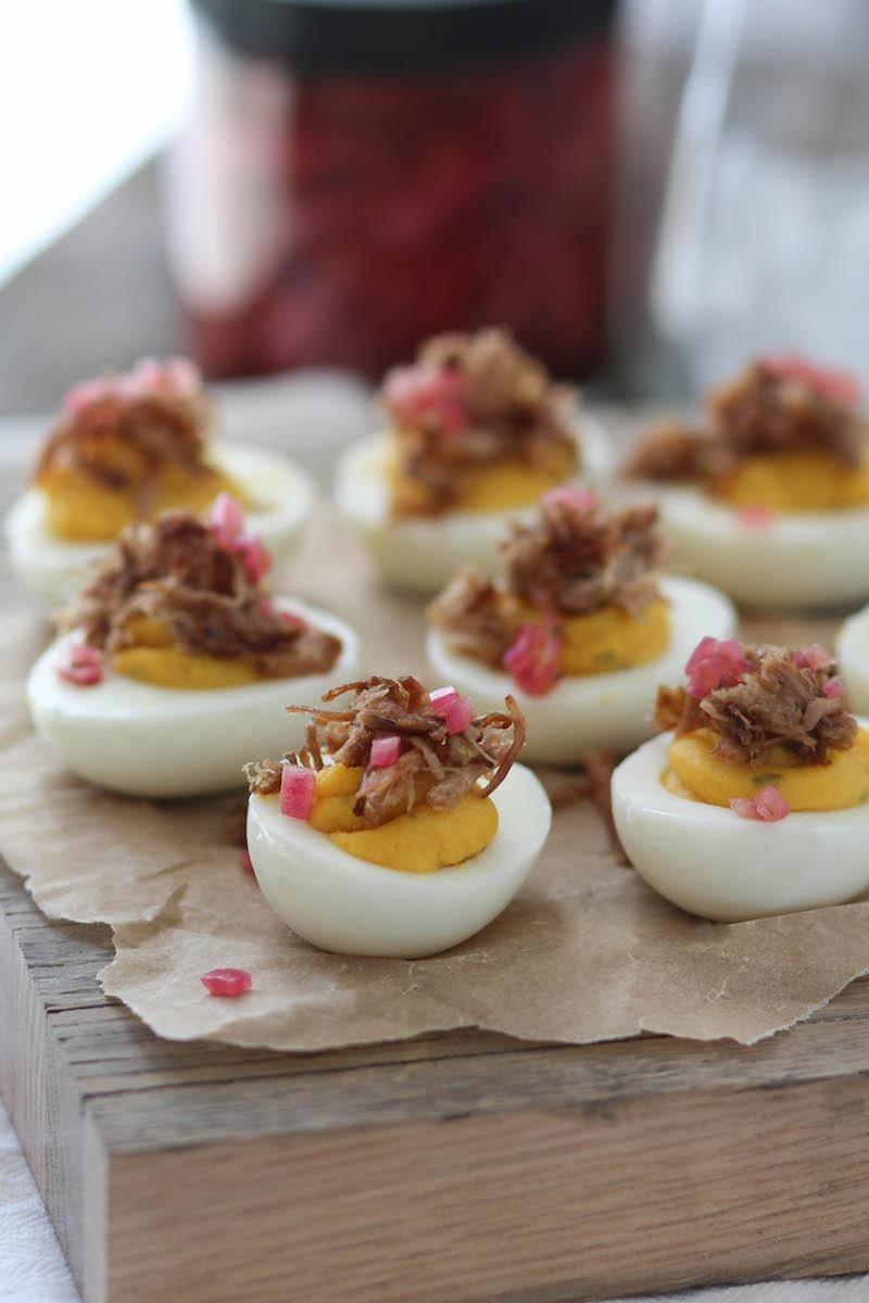 PaleOMG Pulled Pork Deviled Eggs