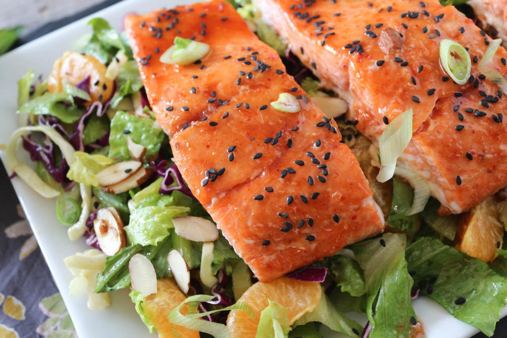 PaleOMG Spicy Candied Salmon Salad with Ginger Honey Dressing