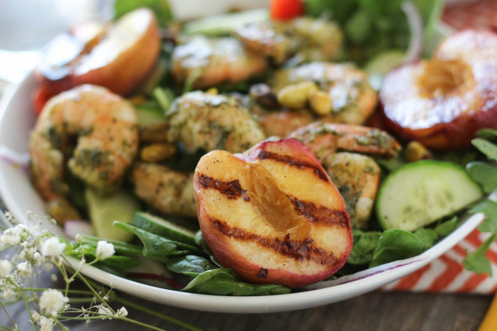PaleOMG Pesto Shrimp & Grilled Peach Salad