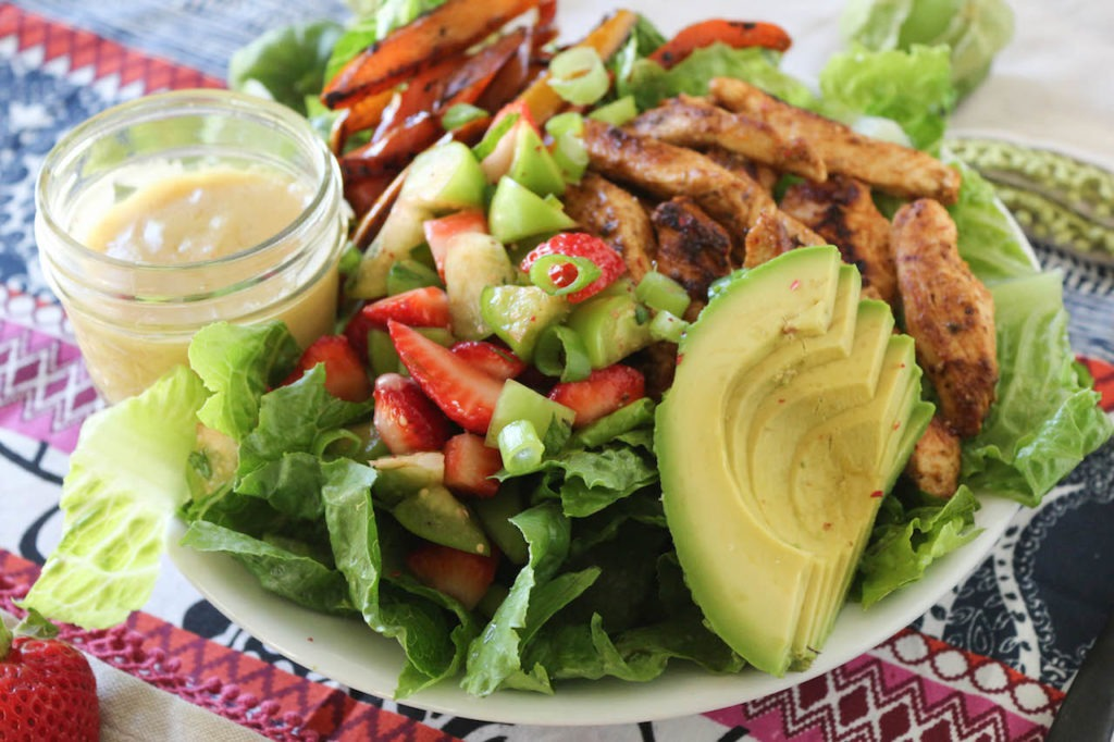 PaleOMG Strawberry Tomatillo Chicken Fajita Salad