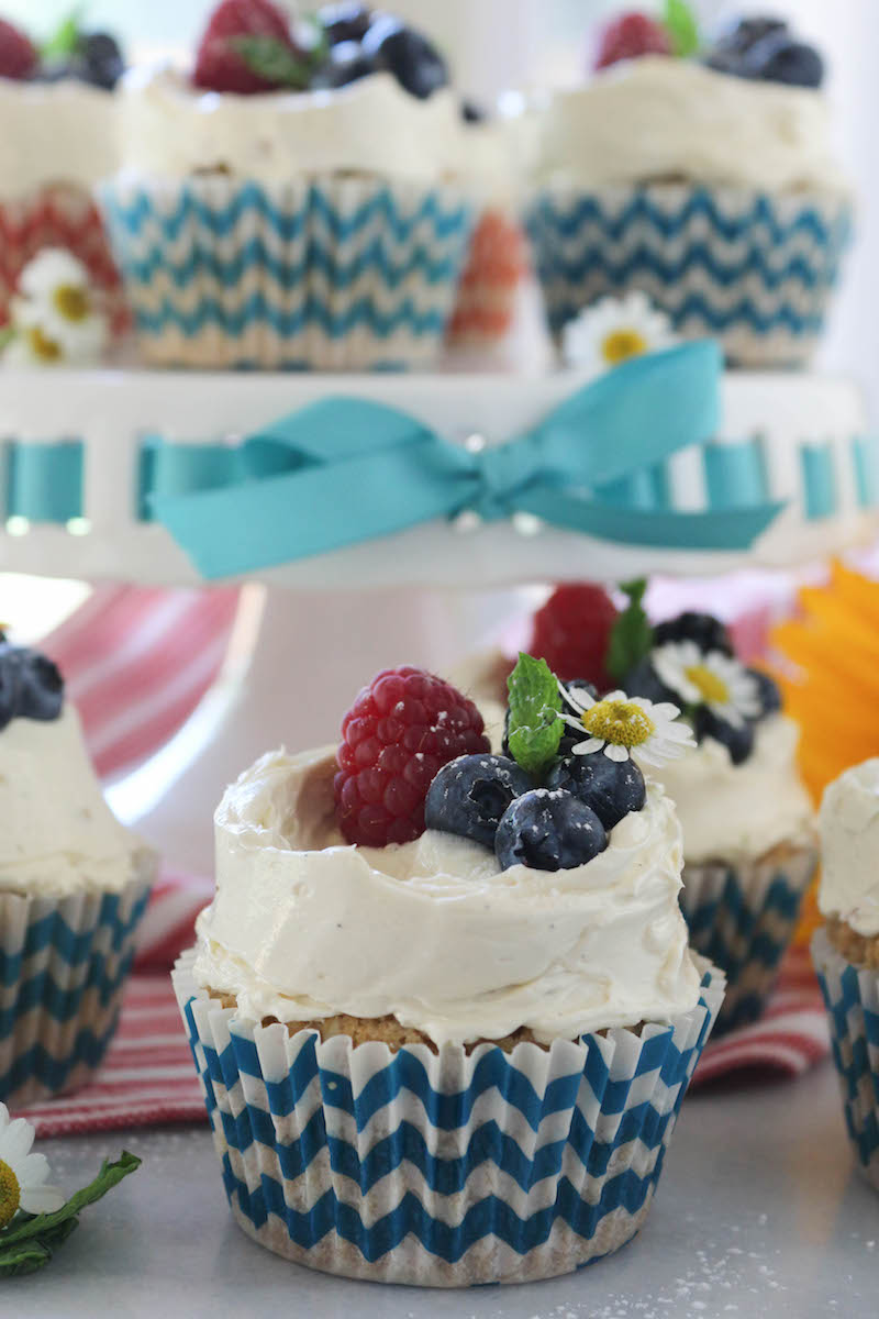 PaleOMG Vanilla Berry Cupcakes with Vanilla Bean Pastry Buttercream