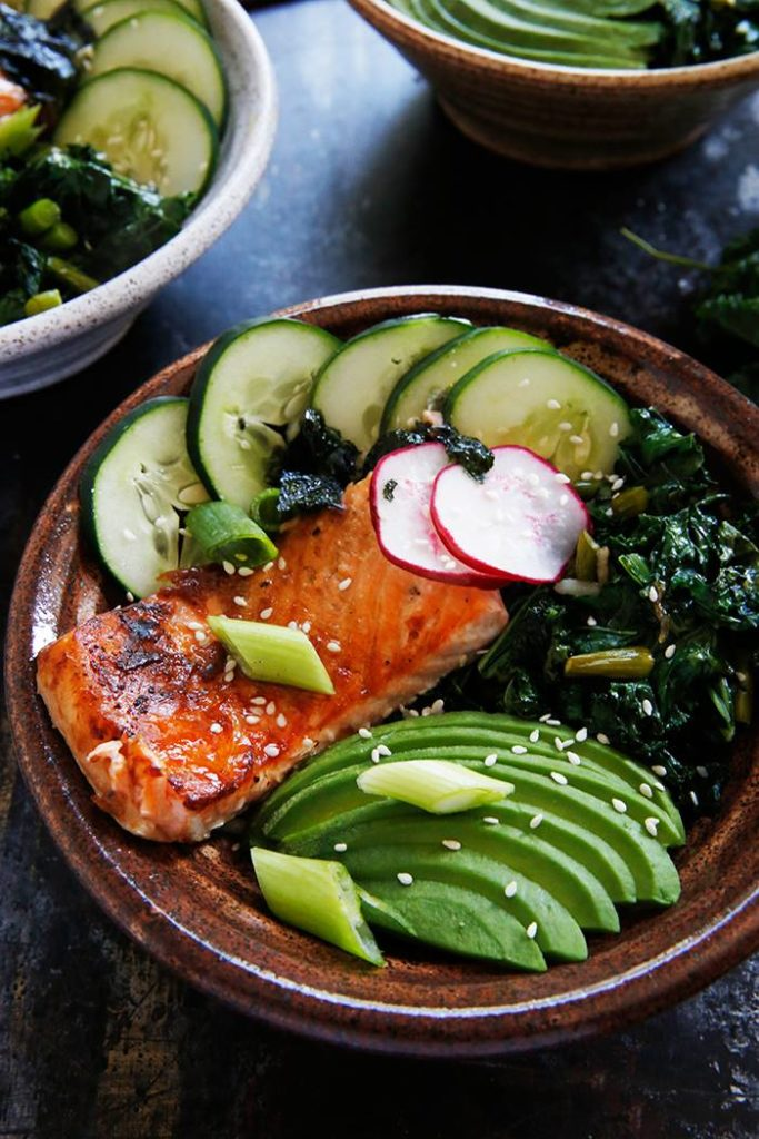 Lexi's Grilled Fish Bowls with Garlic Scapes and Kale