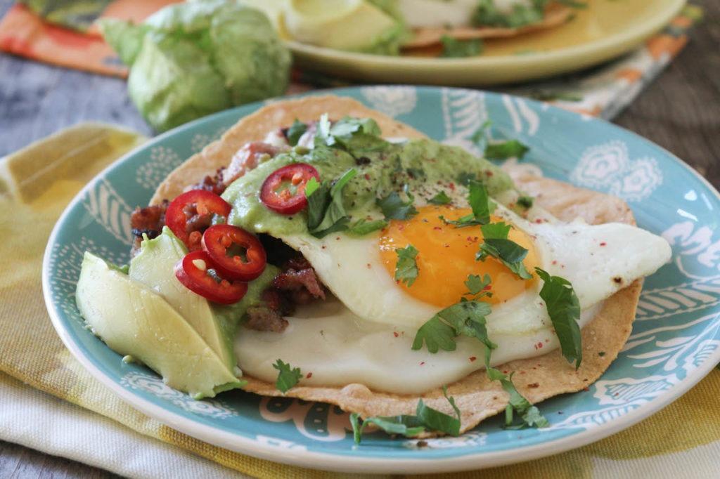 PaleOMG Huevos Rancheros Tostadas with Creamy Tomatillo Salsa