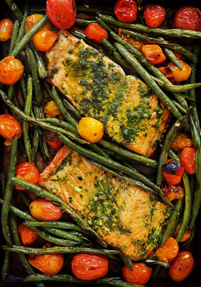 Lexi's Herb Butter Salmon with Blistered Tomatoes and Green Beans