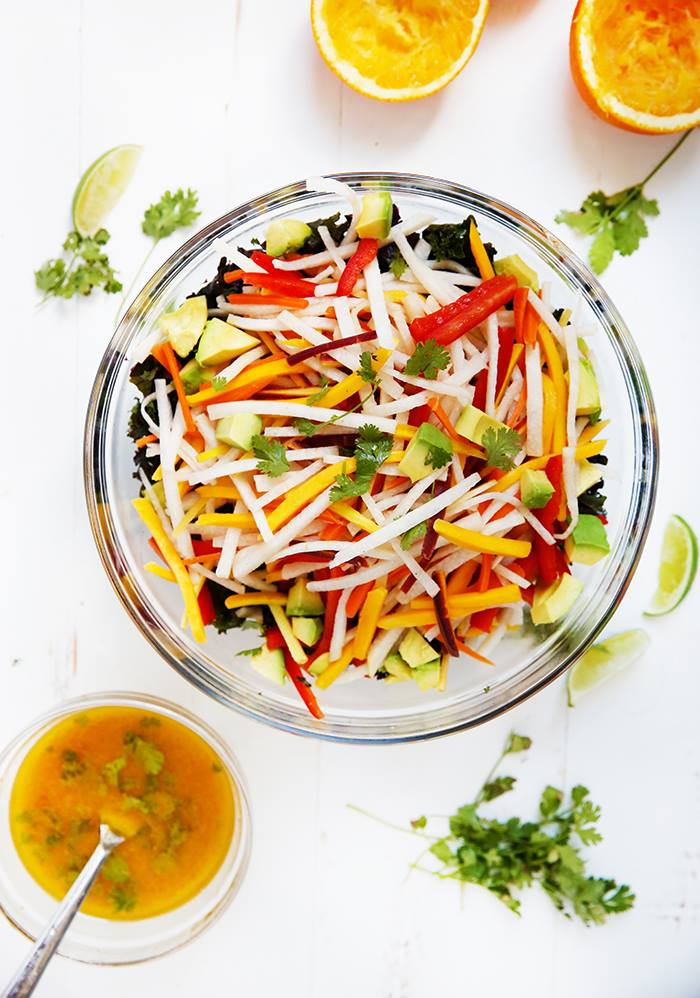 Lexi's Jicama Kale Salad with Orange Lime Vinaigrette