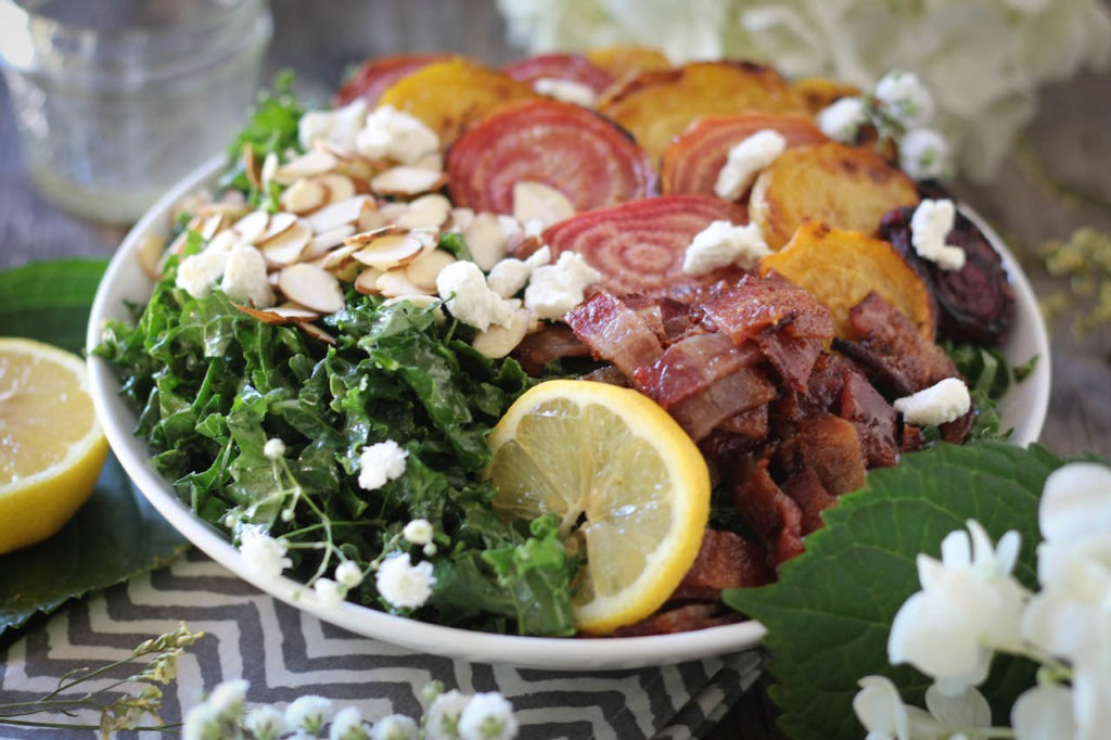 PaleOMG Kale & Candied Bacon Roasted Beet Salad