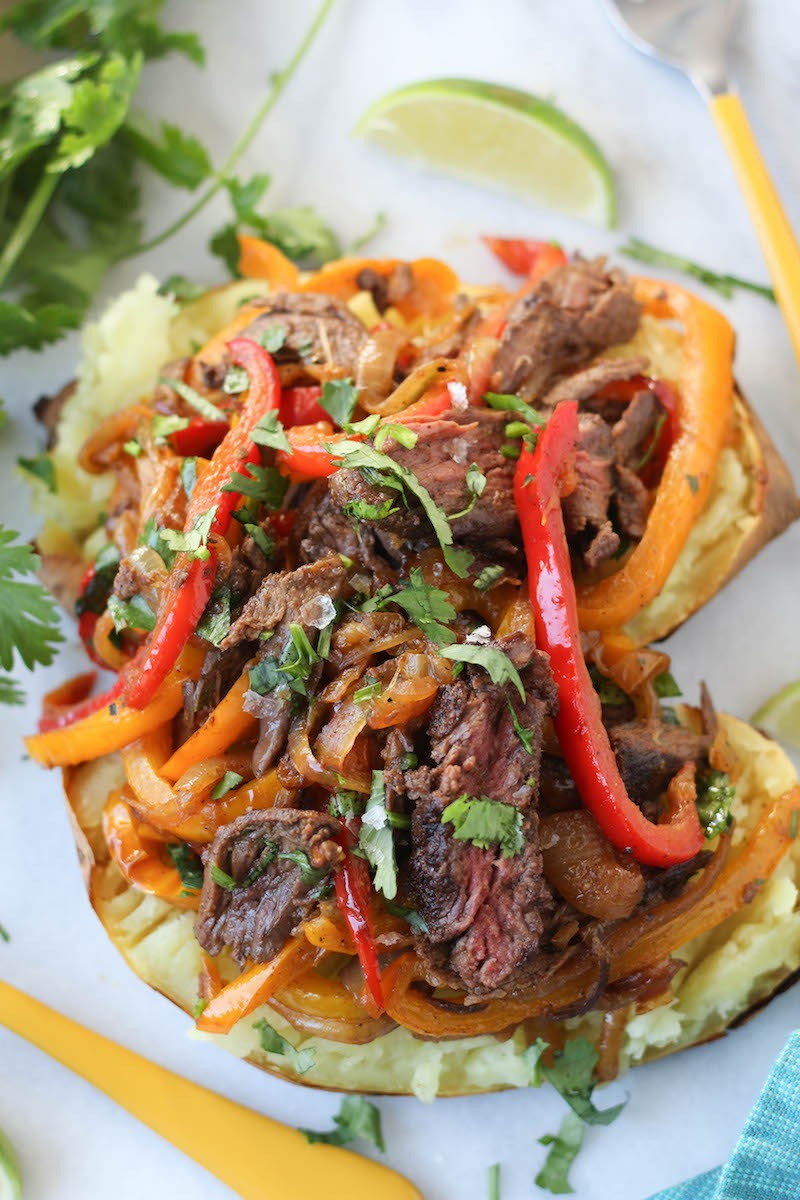 PaleOMG Steak Fajita Loaded Sweet Potatoes