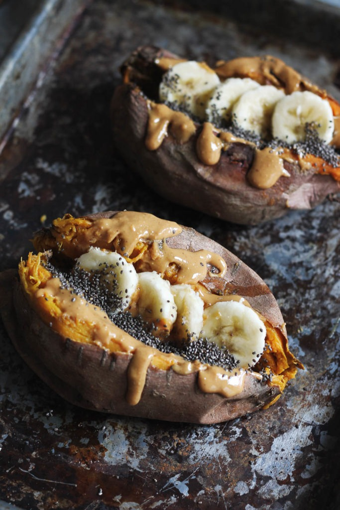 Ambitious Kitchen Breakfast Baked Sweet Potatoes with Almond Butter, Banana & Chia