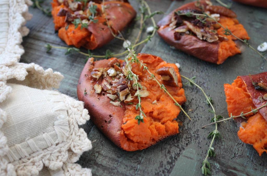 PaleOMG Smashed Maple Sweet Potatoes