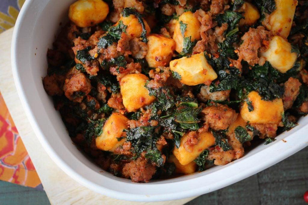 PaleOMG Italian Spicy Sauce & Kale Gnocchi Casserole