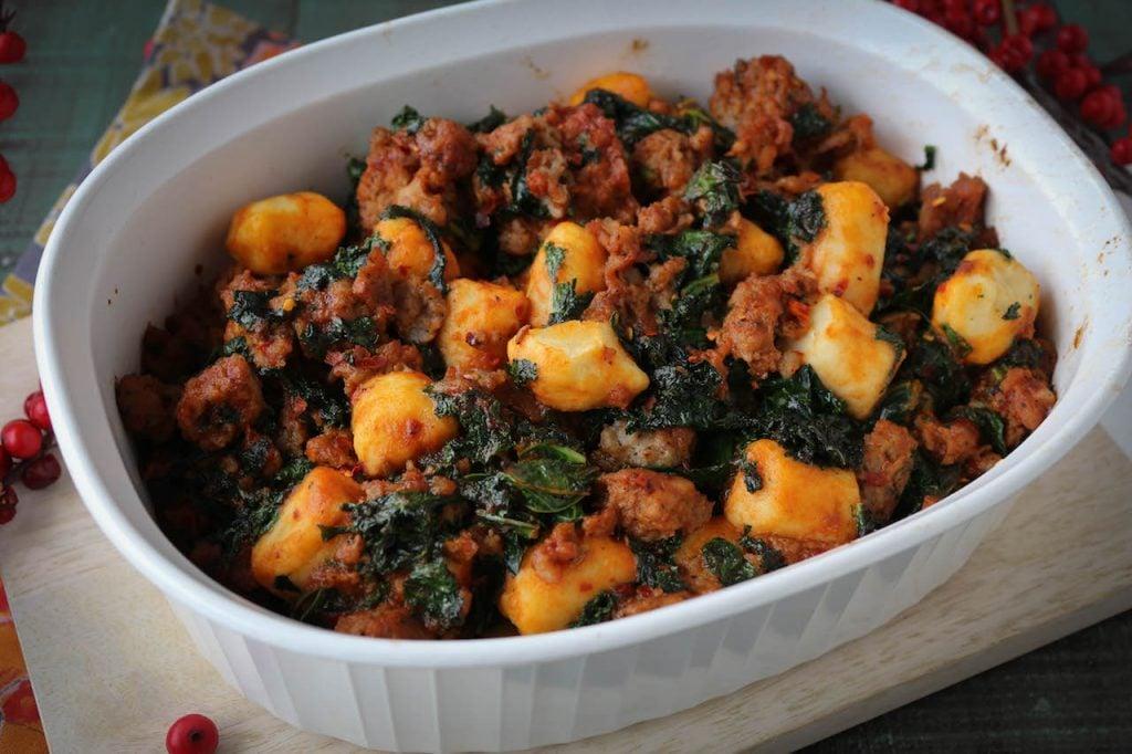 PaleOMG Italian Spicy Sausage & Kale Gnocchi Casserole